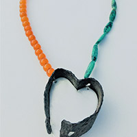 Long Necklace – Silver, Iron, Amber, Anyolit