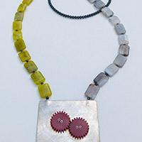 Long Necklace – Silver, serpentine, agate, hematite, bakelite