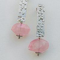 Earrings – silver, rose quartz