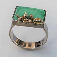 Ring – silver, gold, chrysoprase