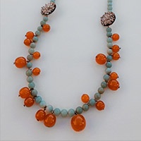 Necklace – silver, amber, pewter, Amazonite