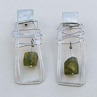 Earrings – silver, garnet