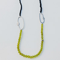 Long Necklace – Silver, Serpentine, blue Goldstone