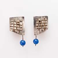 Ohrringe – Silber, Fundstück, Blauachat